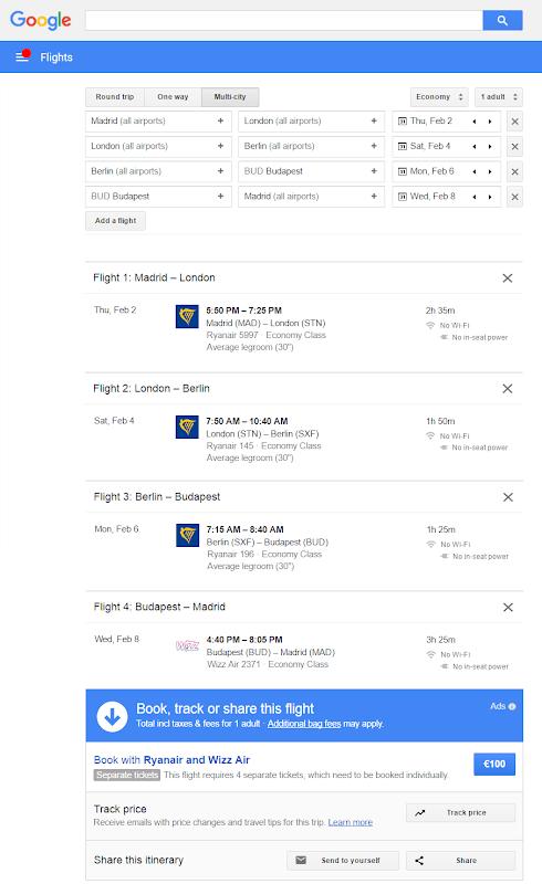 buscando vuelos en google flights