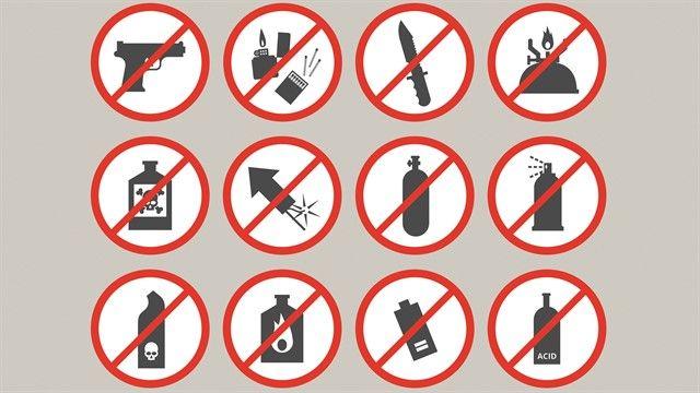 Artículos prohibidos en el avión ®