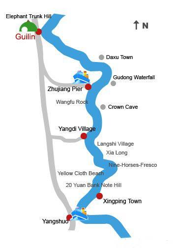 rio li mapa guilin yangshuo xingping