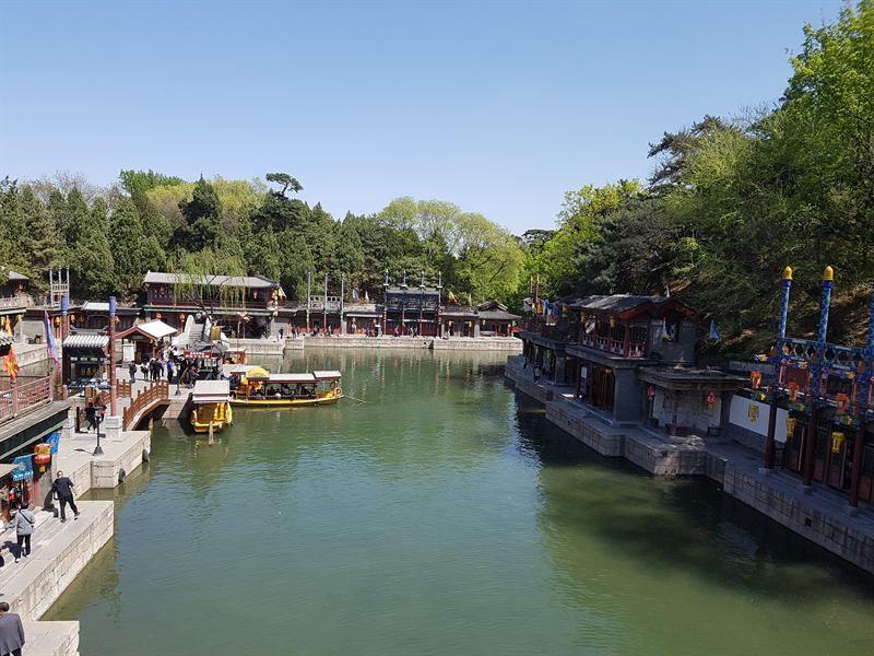 Zona de canales dentro del Palacio de Verano de Pekín