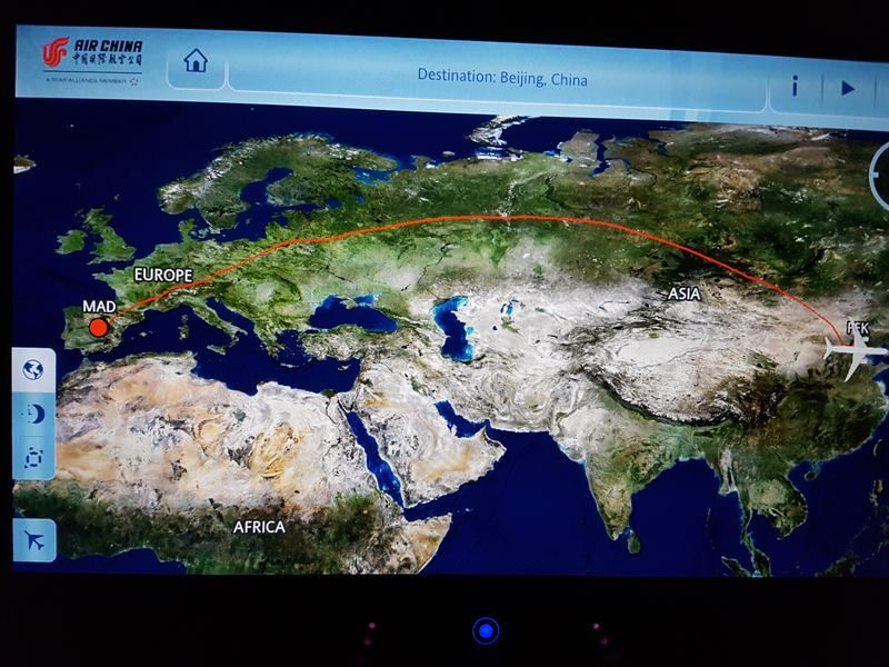 Pantalla de Air China del vuelo de Madrid a Pekín