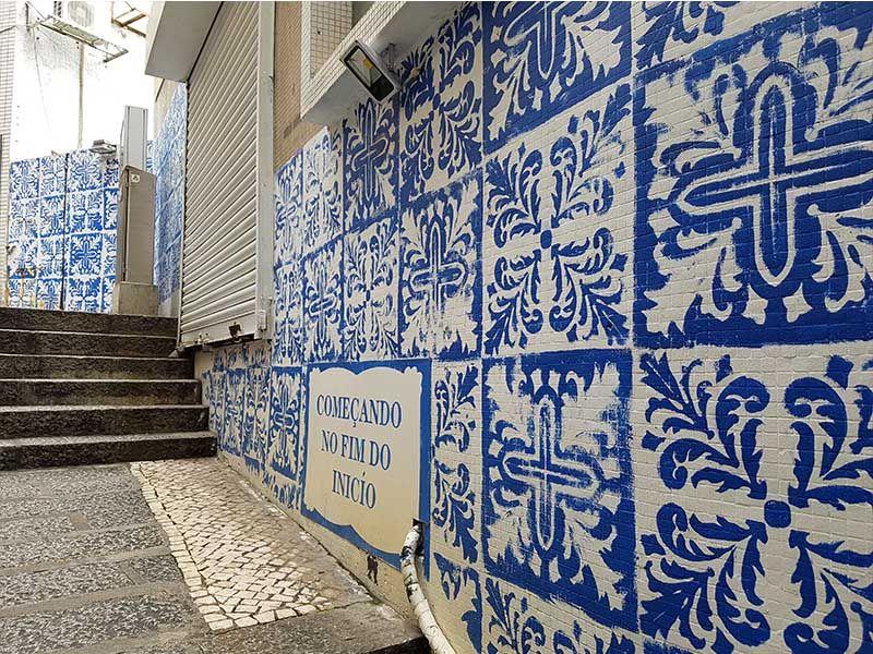 Calle de estilo portugués en Macao