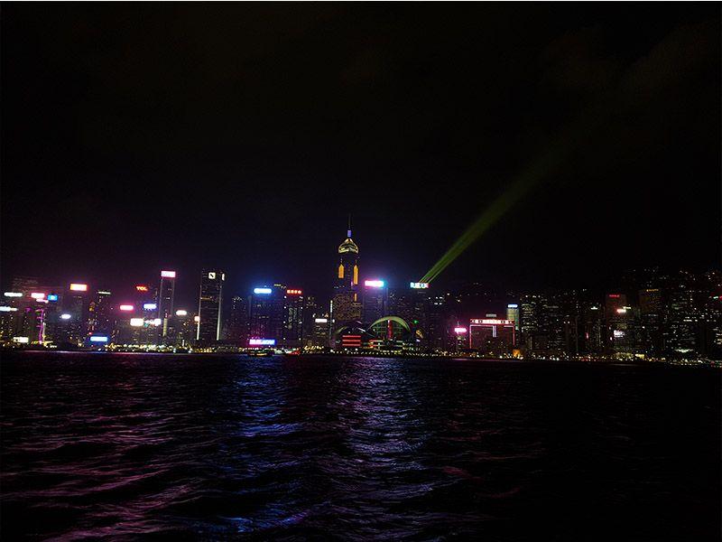 Espectáculo de luces en Hong Kong