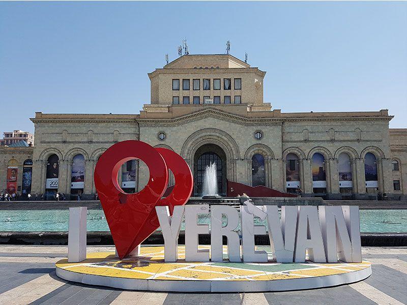 Plaza de la República, en el centro de Ereván