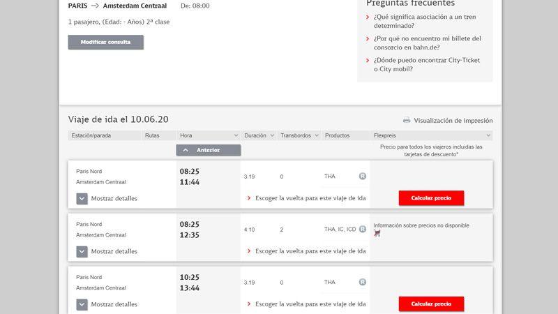 Buscar horarios de trenes para Interrail