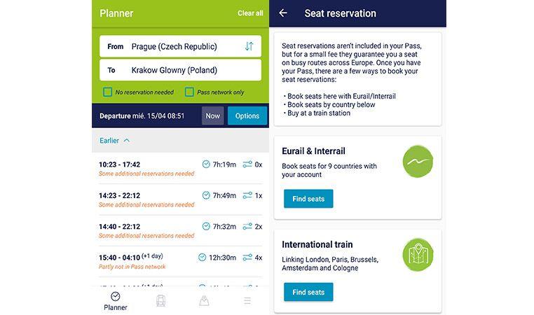 Buscar y reservar trenes para Interrail con el móvil