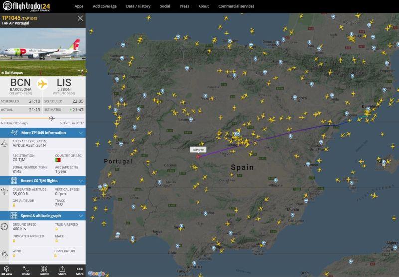 seguir vuelo en tiempo real de barcelona a lisboa