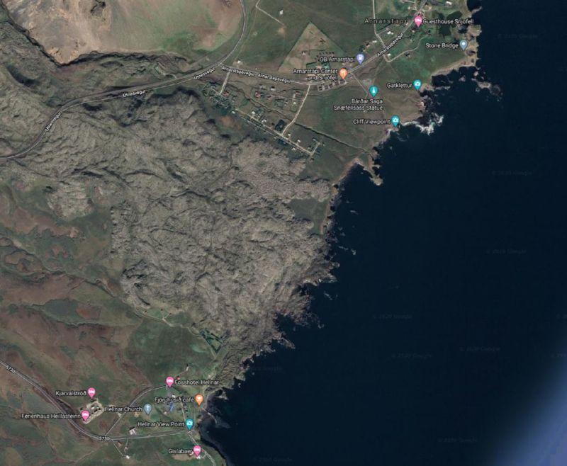 flujo de lava Snaefellsjokull hellnar