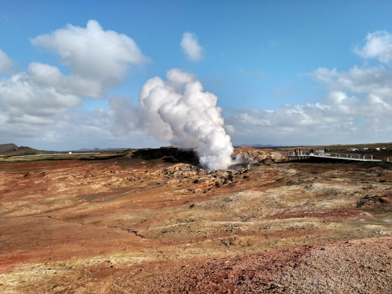 zona geotérmica gunnuhver  península de Reykjanes islandia