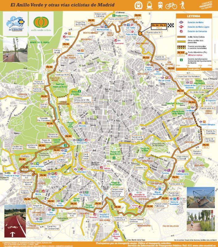 mapa anillo verde ciclista de madrid