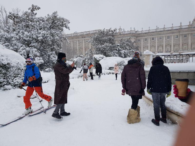 nieve en el palacio real de madrid